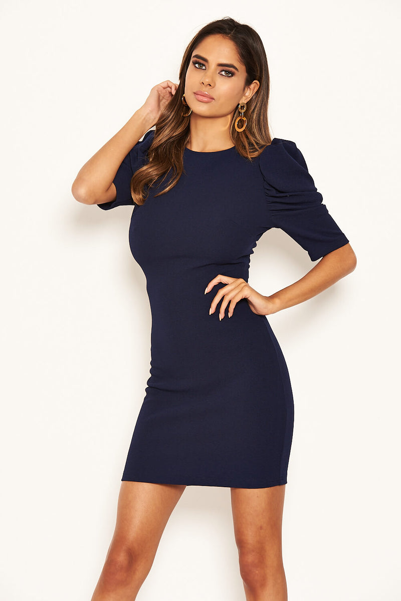 Navy Ruffle Sleeve Bodycon Dress