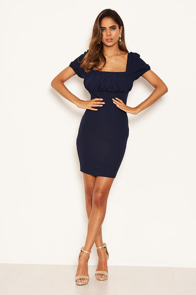 Navy Square Neck Ruched Bodycon Mini Dress
