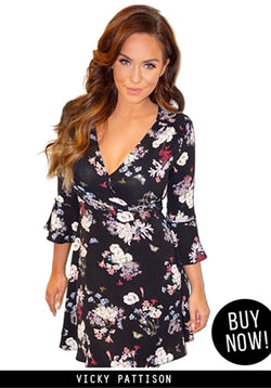 Black Floral Bell Sleeve Wrap Dress
