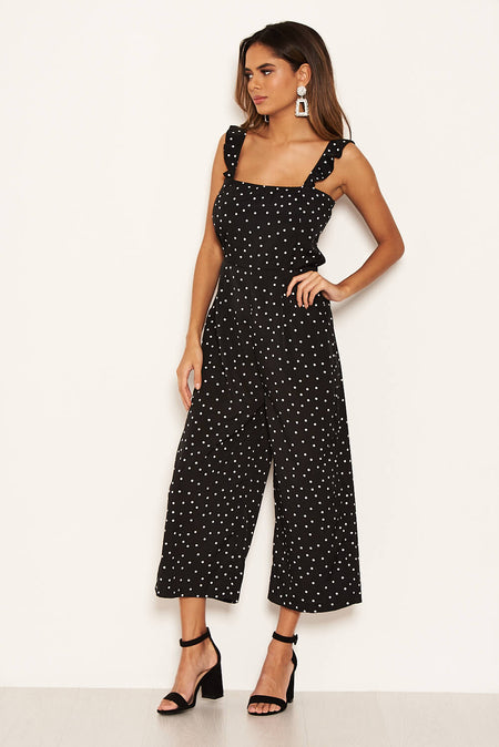 Stone Polka Dot Frill Panel Jumpsuit