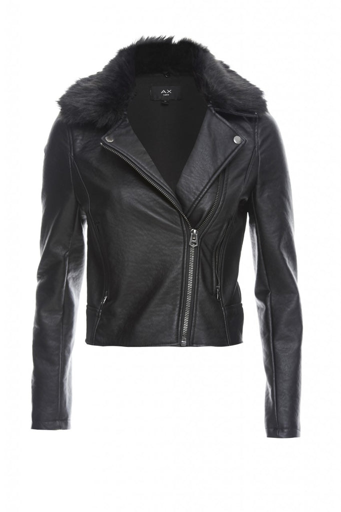 Cropped Faux Leather and Fur Jacket