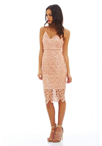 V Neck Crochet Midi Dress
