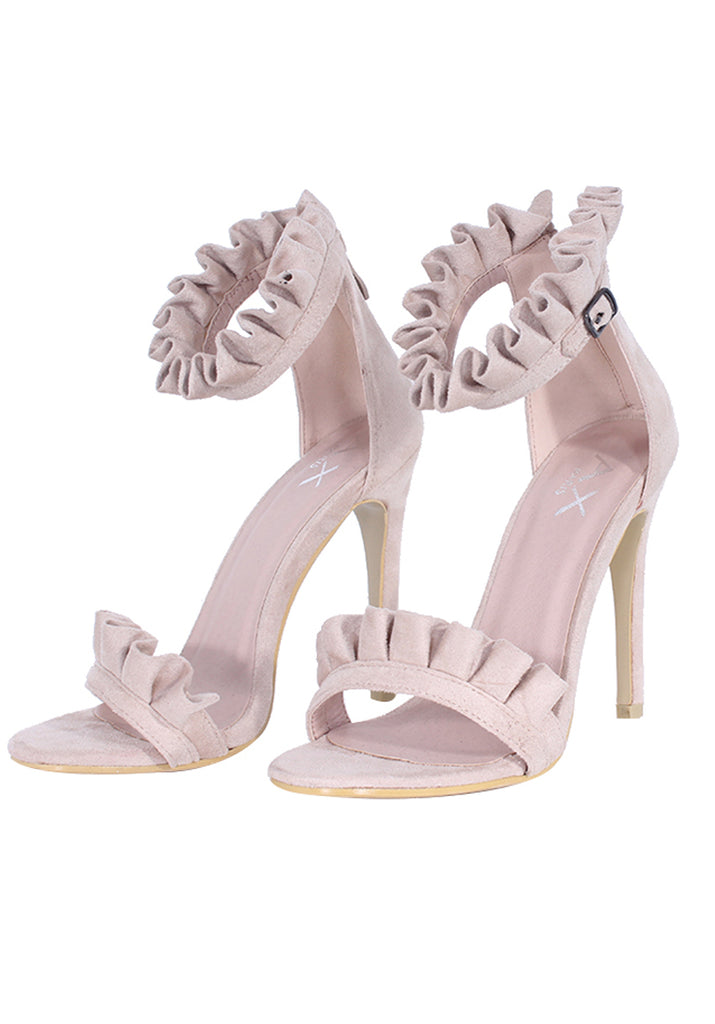 Nude Ruffle Detail Stilletto Heels