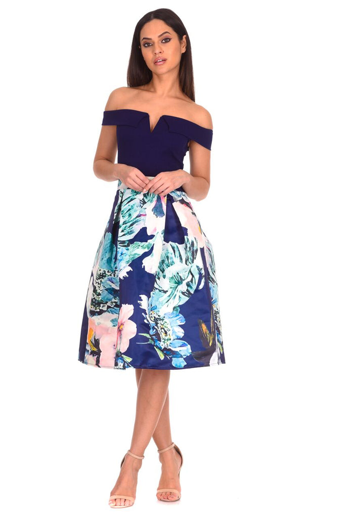 Navy 2 in 1 Multi Floral Dress