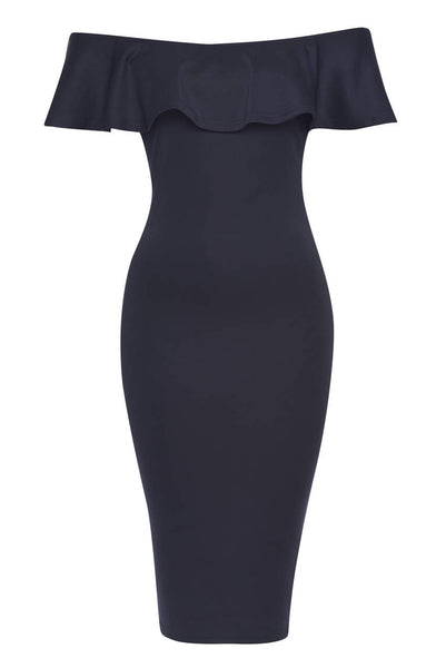 Navy Bardot Bodycon Dress With Ruffle Detail