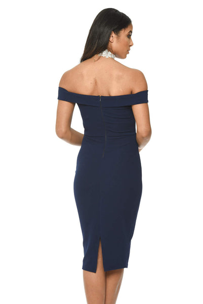 Navy Bardot Bodycon Dress