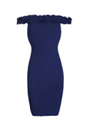 Navy Ruffle Bardot Midi Dress
