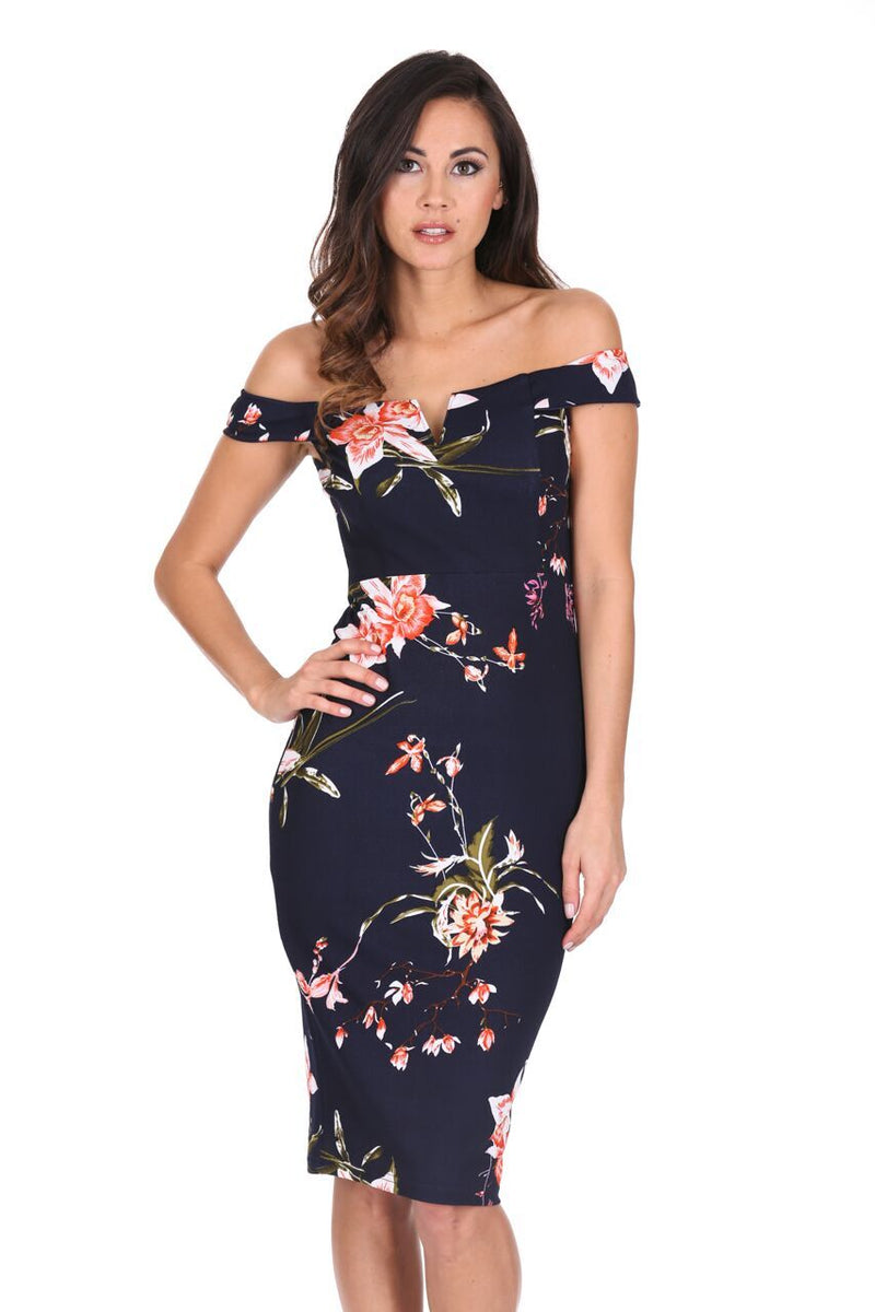 Navy Bardot Notch Front Floral Midi dress