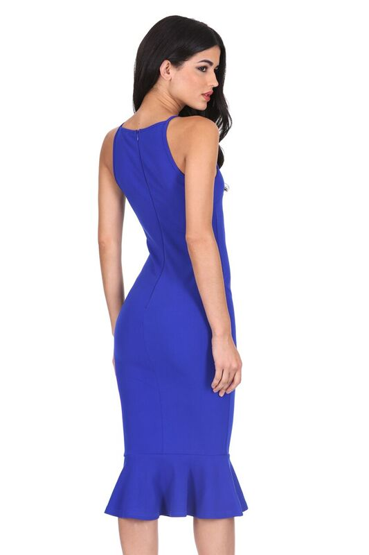 Blue Bodycon Midi Dress With Frill Hem