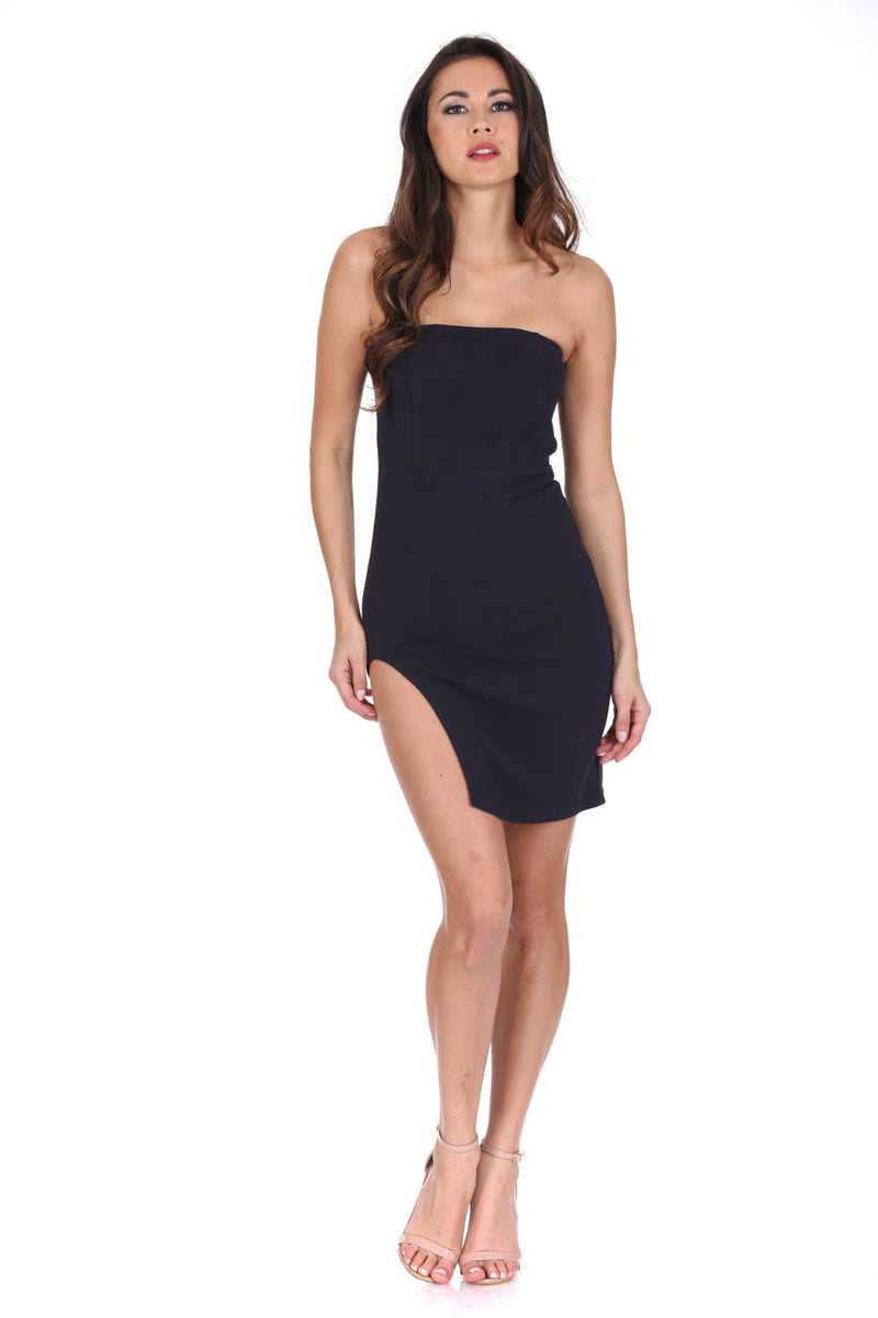 Navy Bandeau Thigh Split Dress