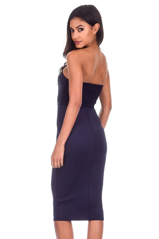 Navy Boob Tube Mesh Detail Midi Dress