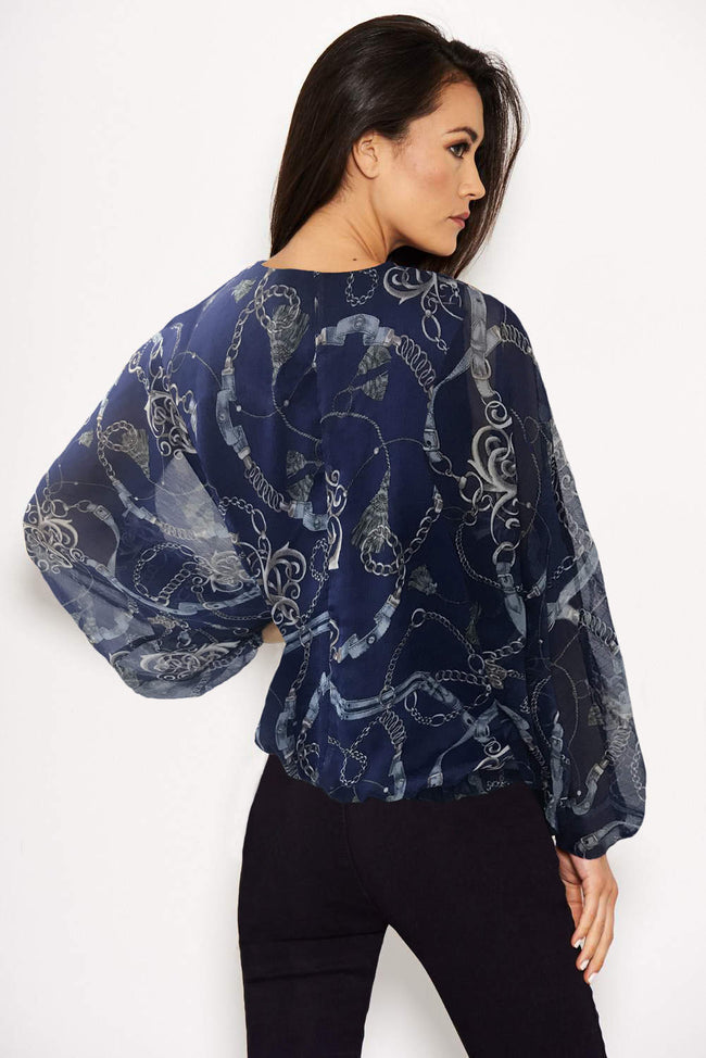 Navy Chain Print Wrap Top