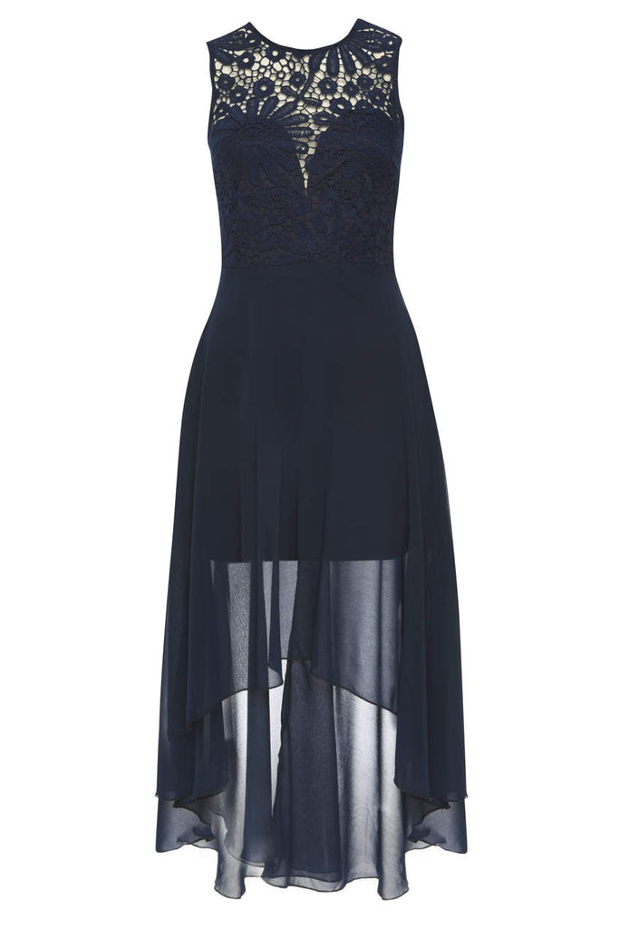 Navy Chiffon High-low Dress With Lace Neckline