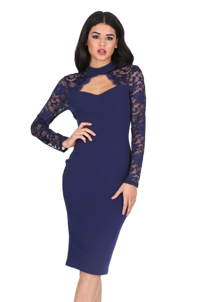 Navy Choker Neck Lace Sleeve Midi Dress