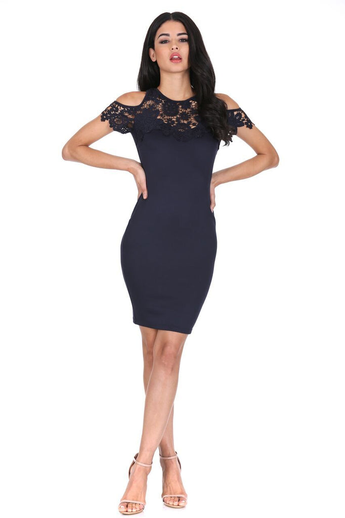 Navy Cold Shoulder Crochet Dress