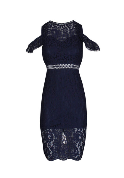 Navy Cold Shoulder Lace Midi Dress
