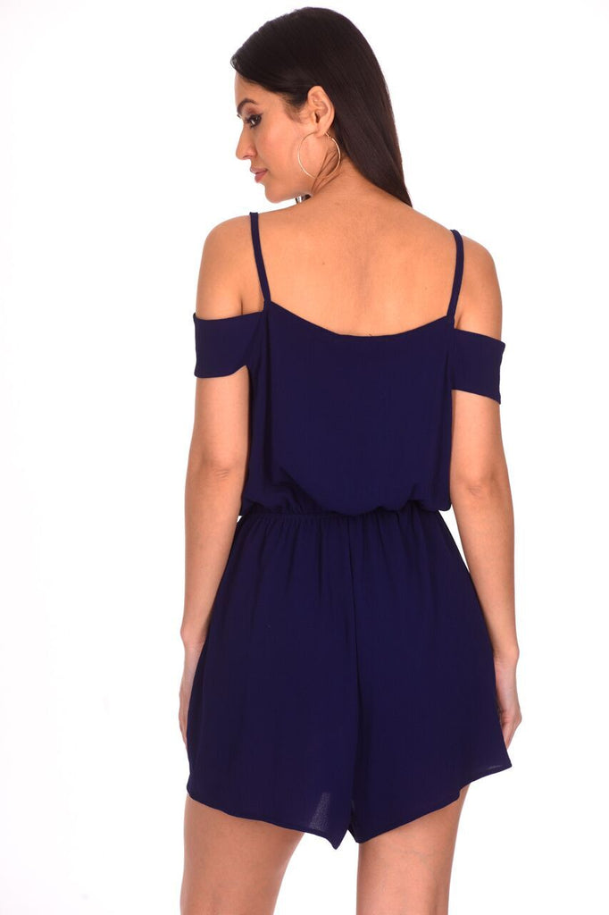 Navy Cold Shoulder Wrap Front Playsuit