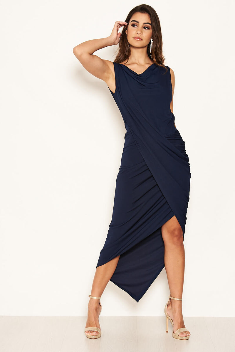 Navy Cowl Neck Ruched Maxi Dress