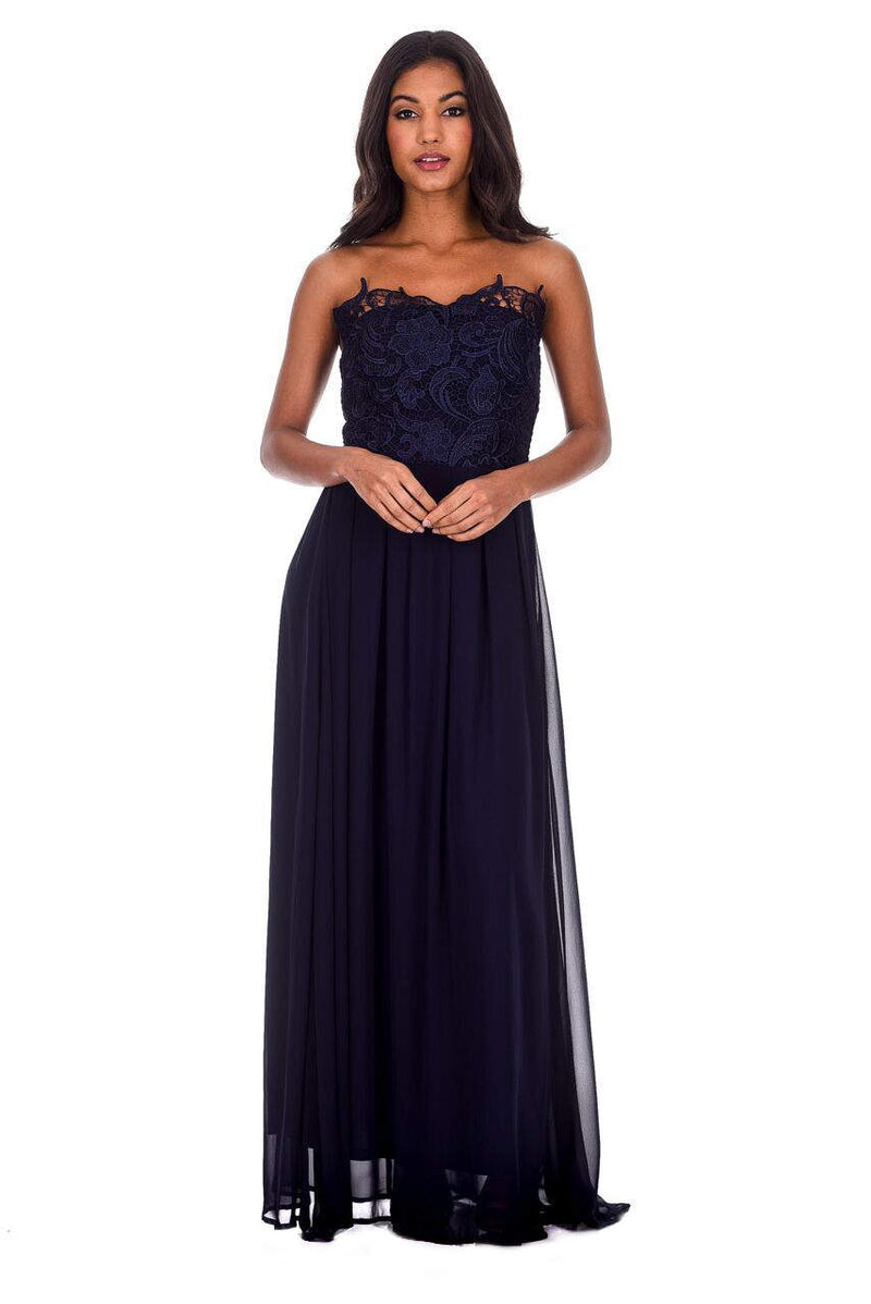 Navy Crochet Bandeau Top Maxi Dress