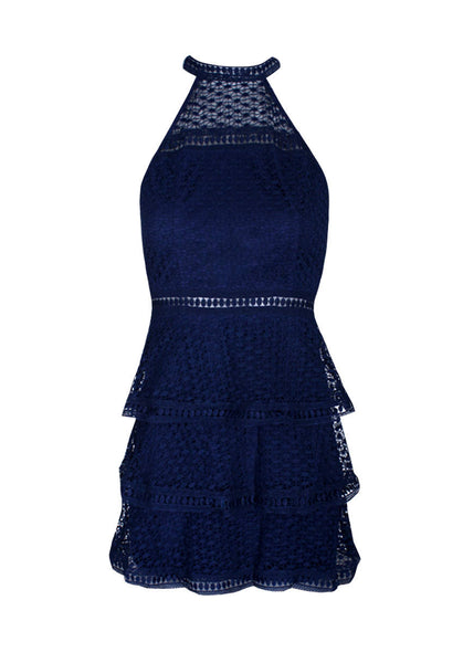 Navy Crochet Choker Neck Dress