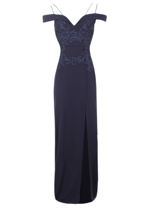 Navy Crochet Detail Double Strap Maxi Dress