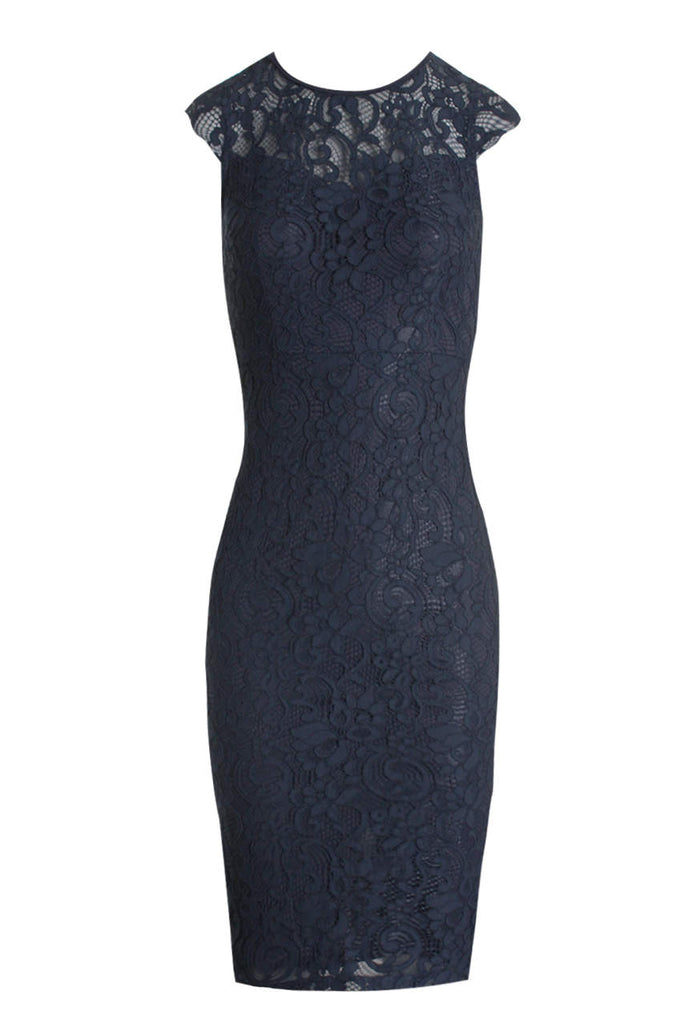 Navy Crochet Midi Dress With Back Detail