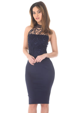 Navy Crochet Top Bodycon Midi Dress