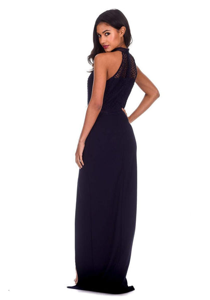 Navy Crochet Top High Neck Maxi Dress
