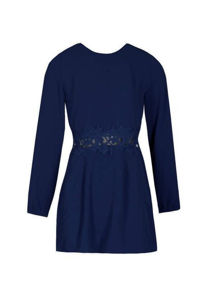 Navy Crochet Waist Long Sleeved Dress