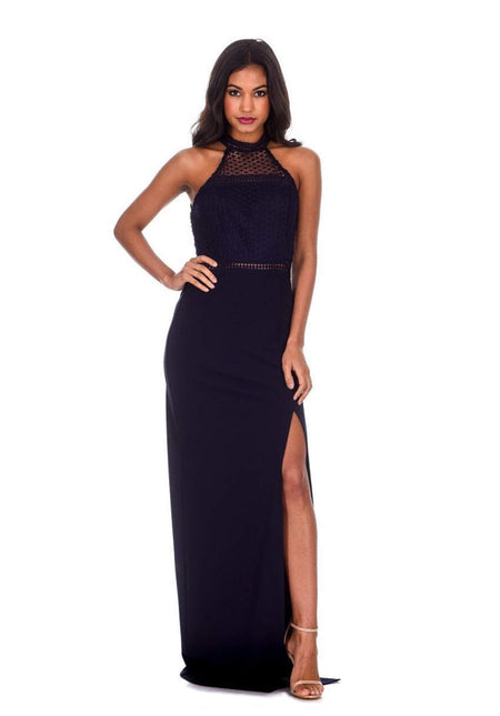 Slinky Navy Maxi Dress with Wrap Front V Neck