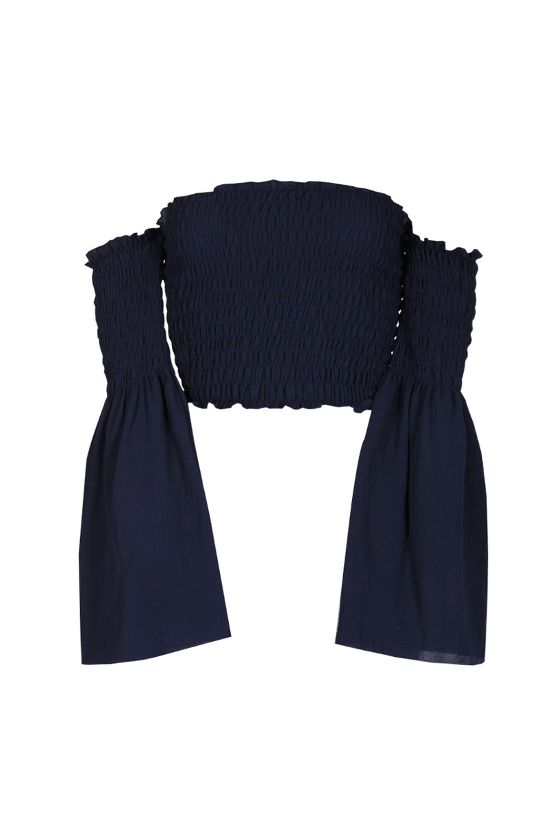 Navy Crop Flare Sleeve Top