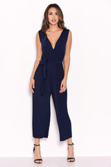 Navy Culotte Pleated Tie-Waist Jumpsuit