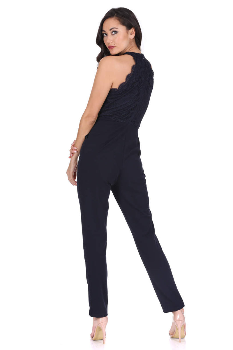 Navy Cut In Neck Lace Jumpsuit