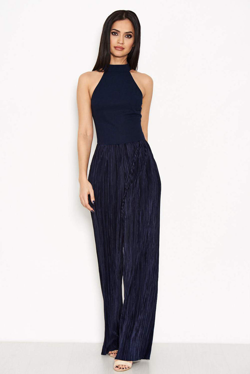Navy Cut In Neck Pleated Leg Jumpsuit