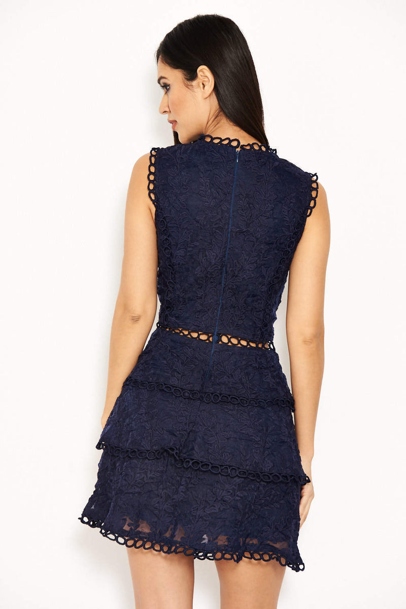 Navy Cut Out Crochet Mini Dress