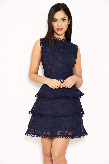 Navy Lace Layered Mini Dress