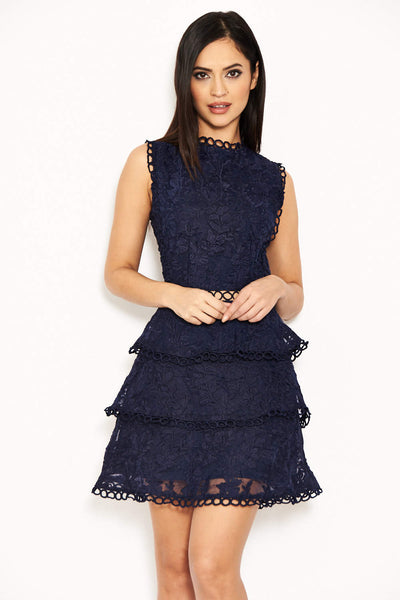 Navy Cut Out Crochet Mini Dress Ax Paris