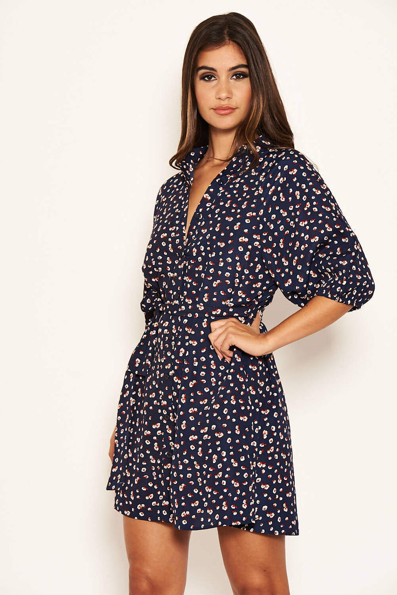 Navy Ditsy Floral Tie Waist Shirt Dress