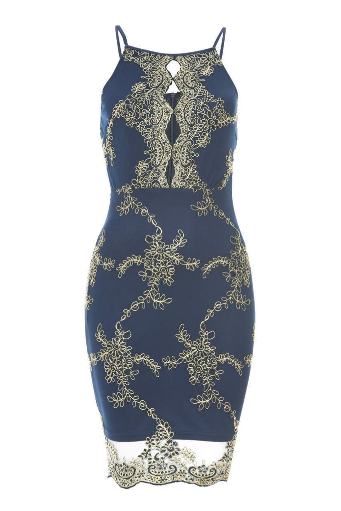Navy Dress With Gold Emboidery