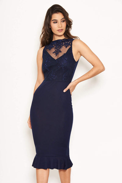 Navy Embroidered Front Midi Dress