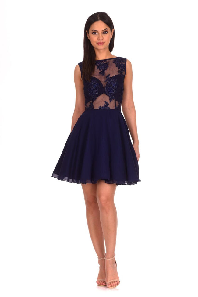 Navy Embroidered Mesh Skater Dress