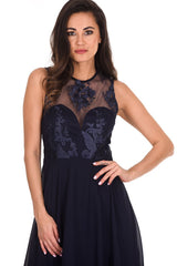 Navy Embroidered Mesh Dipped Hem Dress
