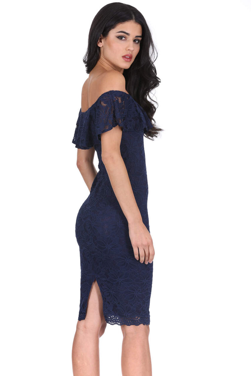 Navy Ruffled Off The Shoulder Lace Midi Dress
