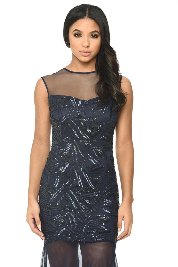 Navy Floor Length Dress With Mesh And Embroidery