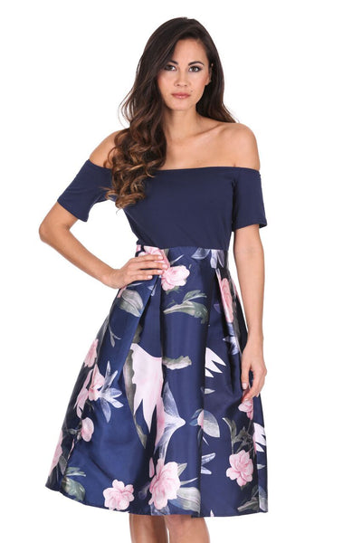 Navy Floral 2 in 1 Skater Dress