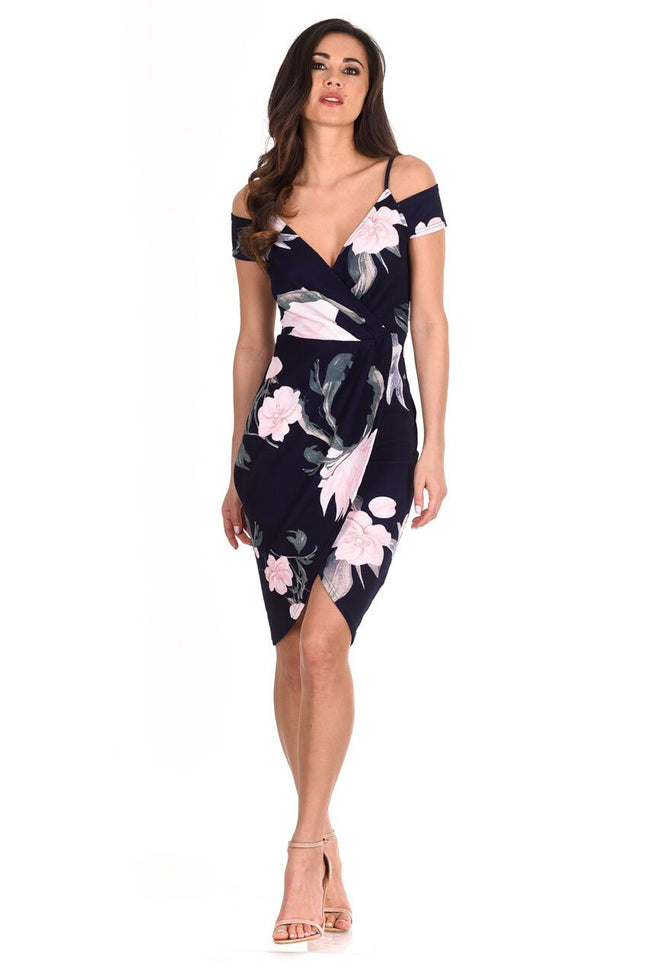 Navy Floral Bodycon Wrap Dress