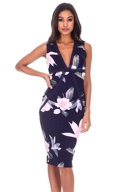 Navy Floral Crochet Detail Midi Dress