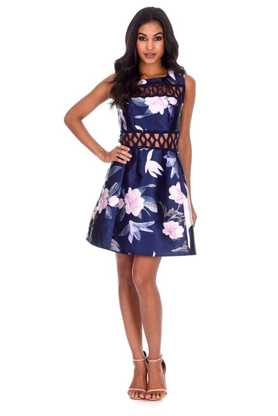 Navy Floral Crochet Detail Skater Dress