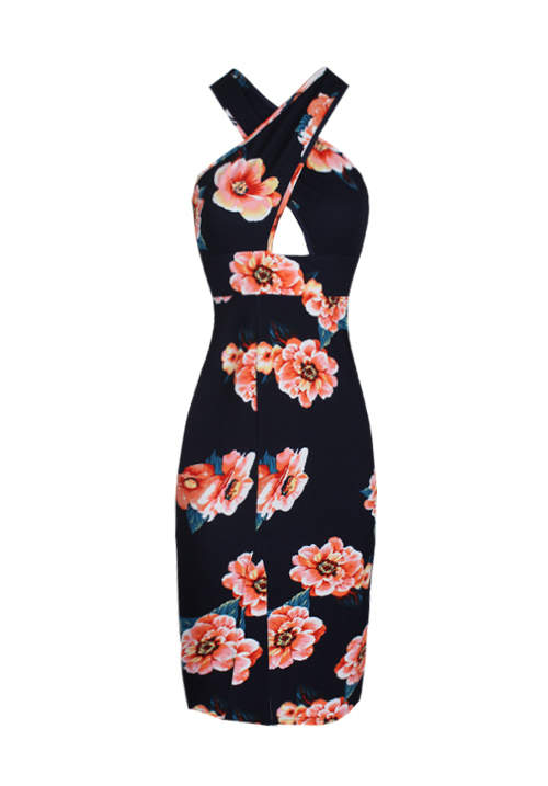 Navy Floral Cross Over Midi Dress