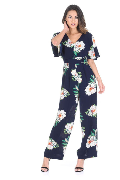 Navy Floral Culotte Jumpsuit With Cape Detail